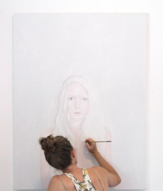 Jen Mann working in her studio